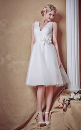 Tulle Ruched Waist Satin Belt V-Neckline Sweet Gown