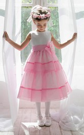 Jeweled Slit Front Floral Tea-Length Organza Flower Girl Dress