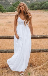 Bohemian Sleeveless A Line Chiffon Lace Spaghetti Floor-length Wedding Dress