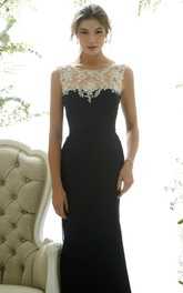 Scoop-neck Sleeveless Jersey Floor-length Dress With Appliques