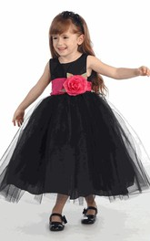 Tulle Tiered Tea-Length Flower Girl Dress