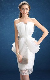 Sheath Short Strapless Lace Dress with Ruching