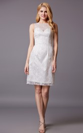 Shot Bateau Neckline Sheath Sleeveless Lace Dress