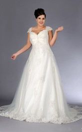Cap-sleeve A-line Tulle Ball Gown With Lace Appliques And lace up