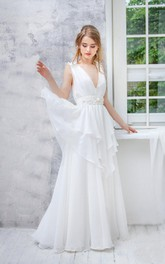 Plunged Sleeveless A-line Chiffon Dress With Tiers And bow