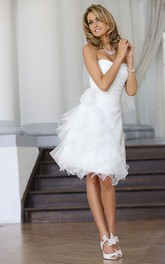 adorable Strapless short Wedding Dress With Ruffles