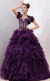 Strapless Crystal Ruffles Organza Quinceanera Dress