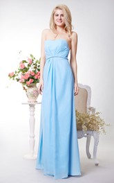 Strapless Chiffon Long Evening Dress with Open Back