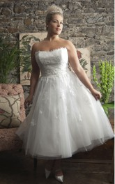 Strapless Tea-length A-line Tulle Wedding Dress With Appliques And Corset Back