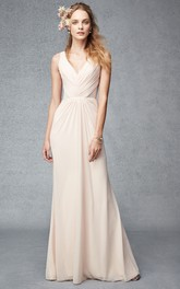 V-neck Ruched Sleeveless Chiffon Bridesmaid Dress