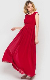 Cap-Sleeve Satin Ribbon Chiffon Long Bridesmaid Dress