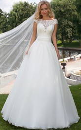 Cap-sleeve Bateau A-line Wedding Dress With Lace top