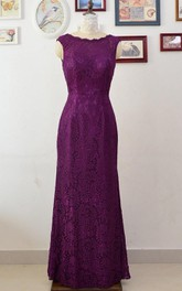 Scoop-neck Lace Sheath Dress With Keyhole And Pleats