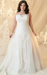 Strapless Tulle Lace Appliques Wedding Dress With Corset Back