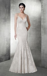 Spaghetti Mermaid Lace Wedding Dress With Deep-V Back And Court Train