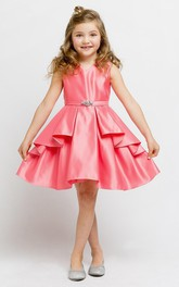 V-neck Satin midi Flower Girl Dress With Draping