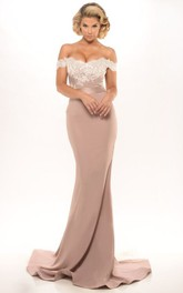 sassy Off-the-shoulder fishtail evening Dress With Lace