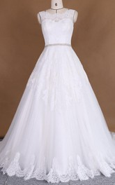 Lace Appliqued Illusion Broach Tulle A-Line Satin Dress