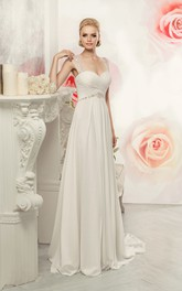 Sleeveless Criss Cross Chiffon Waist Jewellery Floor-Length Sheath Keyhole Dress