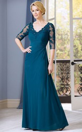 side-draped Illusion Half Sleeve Jersey Mother of the Bride Dress With Appliques