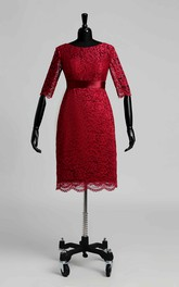 Jewel Half Sleeve Empire Pleats Ruching Dress