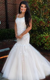 Mermaid Lace Tulle Spaghetti Sleeveless Floor-length Prom Formal Dress With Straps