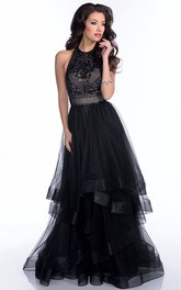 Jewel-Neck Sleeveless Tulle Tiered Prom Dress With Beading And Backless design