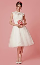 Knee-Length Jacket A-Line Cap-Sleeved Wedding Dress