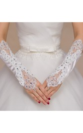 Diamond Elastic Satin Hollow Mesh Bead Embroidered Gloves