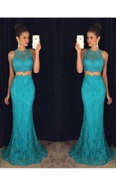 Jewel-Neck Sleeveless Lace Two Piece Prom Dress With Sweep Train