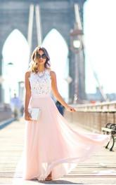 Sleeveless Chiffon Floor Length Lace Sweety Dress