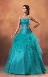 Strapless Ruffles Crystal A-Line Princess Ball Gown