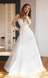 Jewel Lace Tulle Long Sleeve Floor-length Button Illusion A Line Wedding Dress