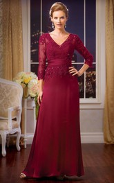 Sequined Appliques V-Neckline 3-4-Sleeved Mother Of The Bride