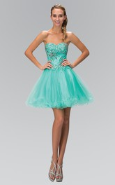 A-Line Mini Sweetheart Sleeveless Tulle Dress With Beading And Ruffles