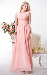 A-Line V Back Bateau-Neckline Chic Chiffon Gown