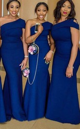 One-shoulder Satin Sleeveless Floor-length Brush Train Trumpet Bridesmaid Dress