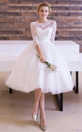 A-line Tea-length Jewel T-shirt 3-4 Length Sleeve Tulle Dress with Pleats