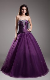 Strapless Jeweled Top A-Line Pleated Ball Gown