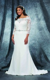 3-4-Sleeve Jewellery Long Trumpet Illusion-Waist Gown