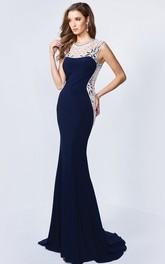 Column Jeweled Long Scoop-Neck Jersey Sleeveless Zipper Dress