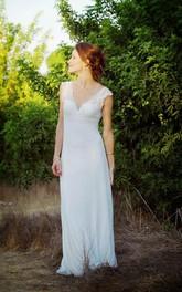 Lace Backless Design Sheath Sleeveless V-Neckline Cap Dress