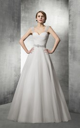 Ball-Gown Removable Strapped Tulle Sweetheart Dress