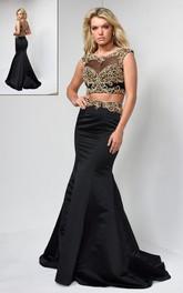 Multi-Color Deep-V-Back Jeweled Column Full-Length Cap-Sleeve Scoop-Neck Satin Dress