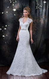 Cap-Sleeve Appliqued Rhinestone Long Fishtail Lace Gown
