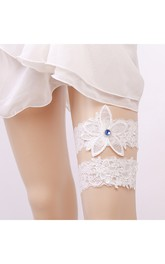 Wide-brimmed Blue Gem Flower Lace Two-piece Elastic Garter Within 16-23inch