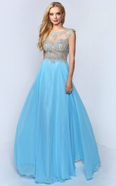 A-Line Pleated Jeweled Full-Length Bateau Low-V-Back Sleeveless Dress