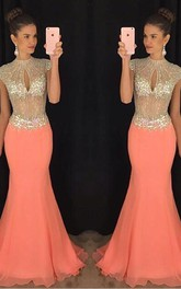 Prom Trumpet Floor-Length Chiffon Party High-Neckline Stunning Gown