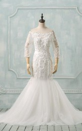 Wedding Appliqued Illusion Sleeve Trumpet Off-The-Shoulder Dress