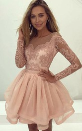 Jewel Lace Tulle Long Sleeve Short A Line Homecoming Dress with Tiers